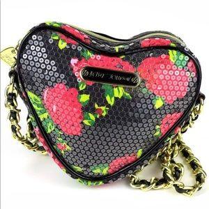 Betsey Johnson Rose Sequin Heart Crossbody Bag